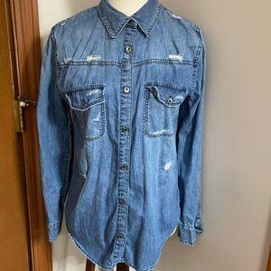 Joe's jeans distressed denim shirt